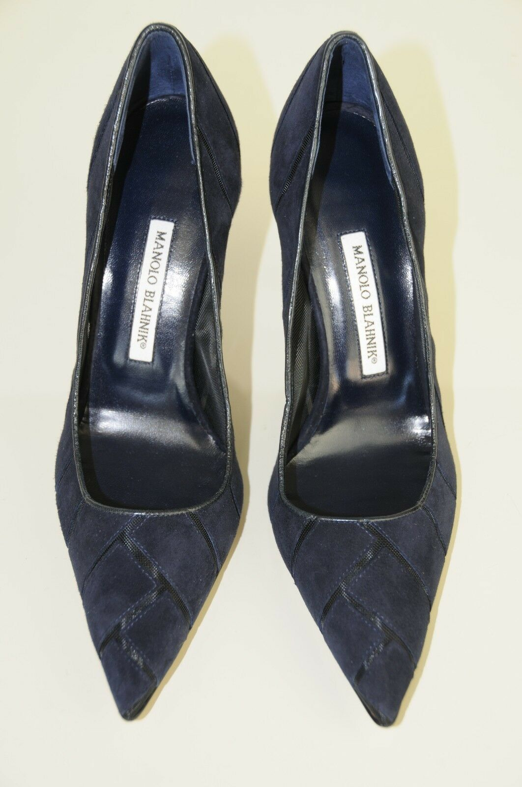 895 New Manolo Blahnik BB Navy bluee bluee bluee Suede Pumps Heels shoes 40 26caec