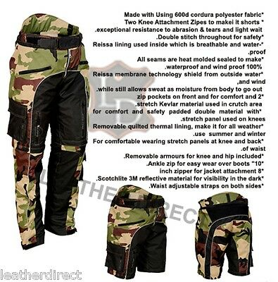 Camo Motorcycle Waterproof Trousers CE Armoured Motorbike Textile Shorts Pants