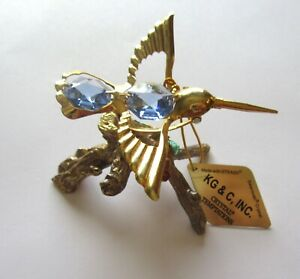 Figurine-Hummingbird-on-branch-Austrian-Crystals-gold-plated-blue-crystals