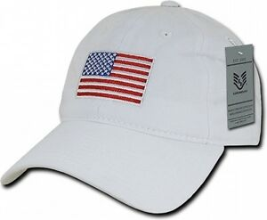 Image is loading White-USA-American-Flag-Baseball-Cap-Graphic-Relaxed- dc7b7ae6b76