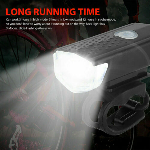 USB Rechargeable LED Bike Front Light Rear Lamp Security Cycling Bicycle Set ERM