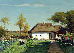 Dream-art Oil painting ZARUBIN Victor - Ukrainian farmstead impressionism canvas