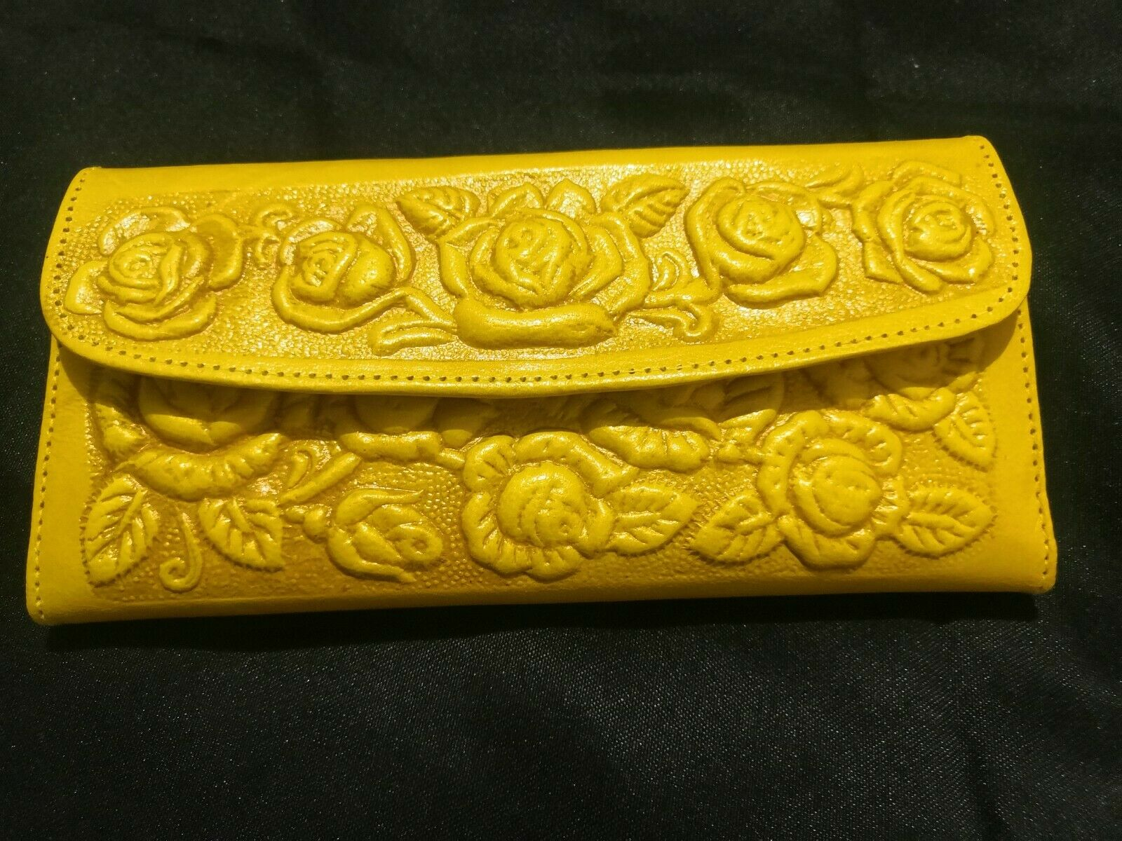 Mexican hand tooled 100% leather trifold wallet/clutch, bright yellow with roses