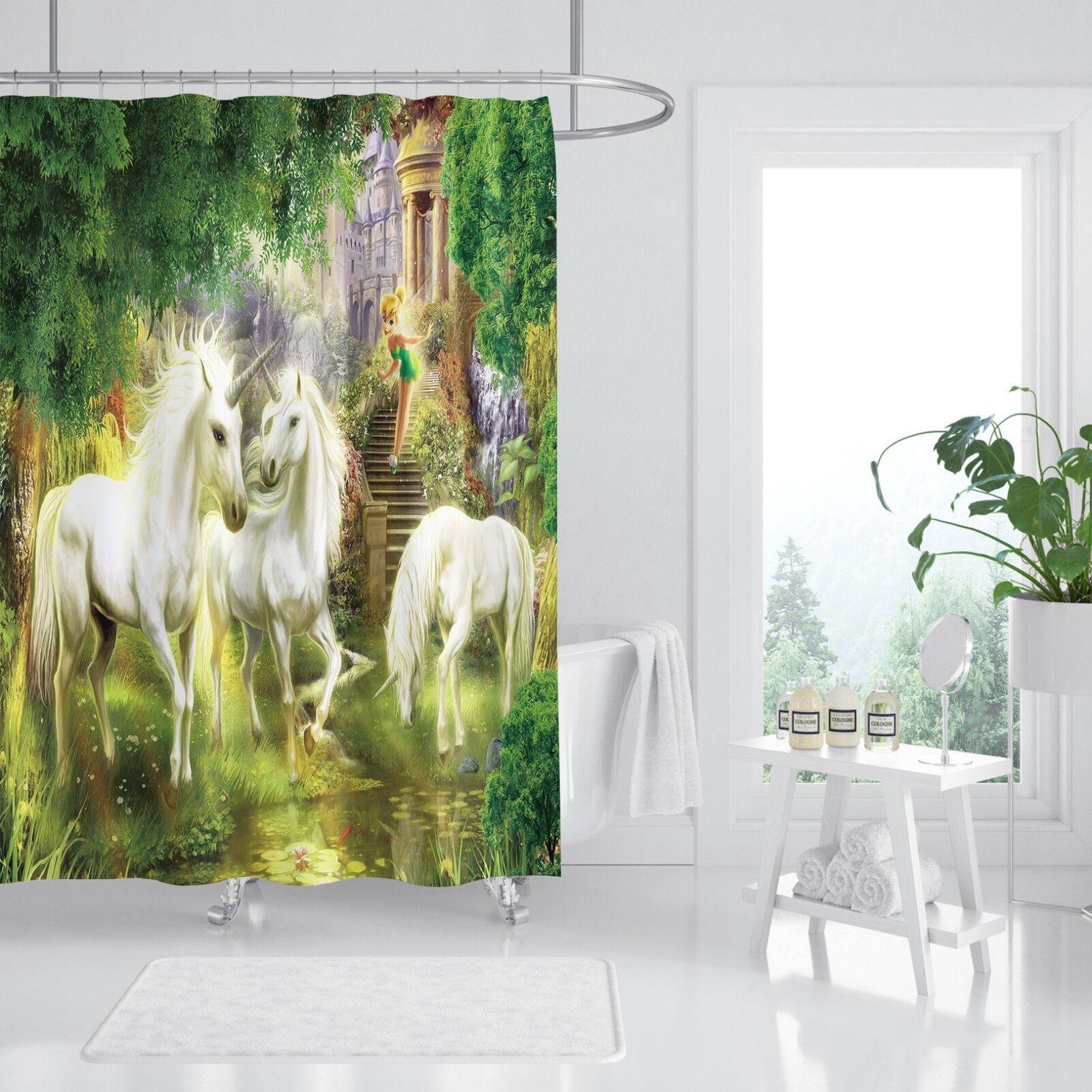 3D Unicorn Castello 78 Tenda da doccia IMPERMEABILE Fibra Bagno WC Windows