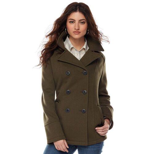 9 Hooded Double-Breasted Fleece Peacoat Detachable Hood Olive NWT Women/'s Apt