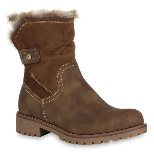 Damen Stiefeletten Gefütterte Biker Boots Stiefel Profil 819244 Schuhe