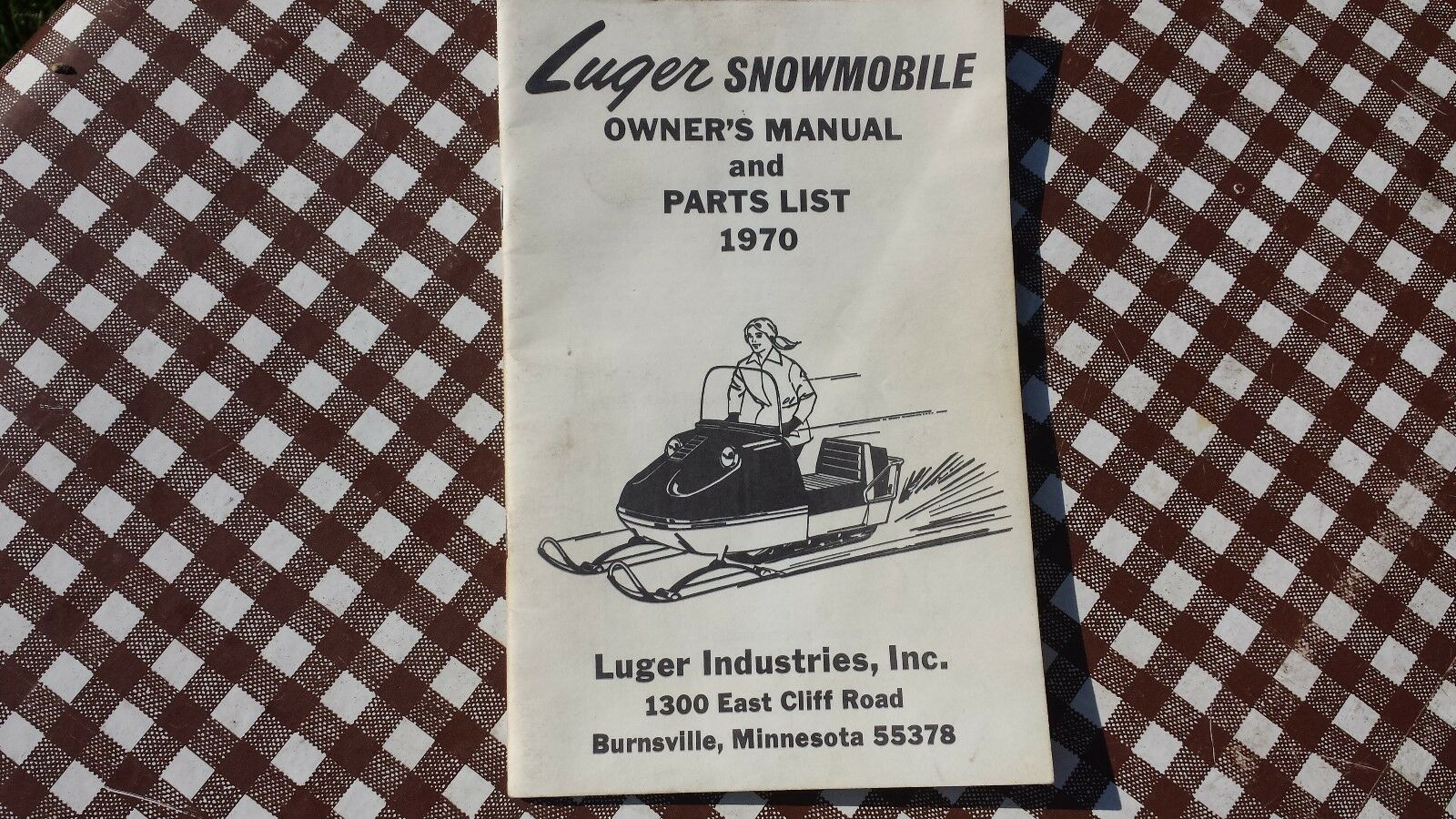 Rare 1970 Luger Snowmobile Owner's Operator's Manual Parts List Booklet