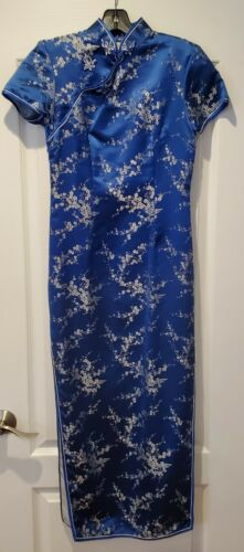 Women Chinese Cheongsam Print Long Dress Side Slit