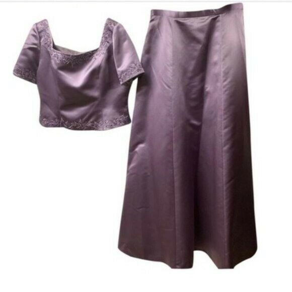 Donna Gray Purple 2pc Skirt Set Gown Size 16