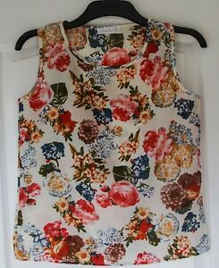 Women-039-s-Cream-Silk-vest-top-Flower-Print-UK-Size-8-10