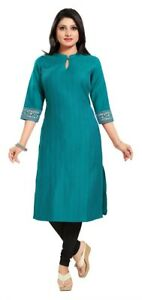 Women-Indian-3-4-Sleeves-Green-Kurti-Tunic-Cotton-Silk-Kurta-Shirt-Dress-MM177R