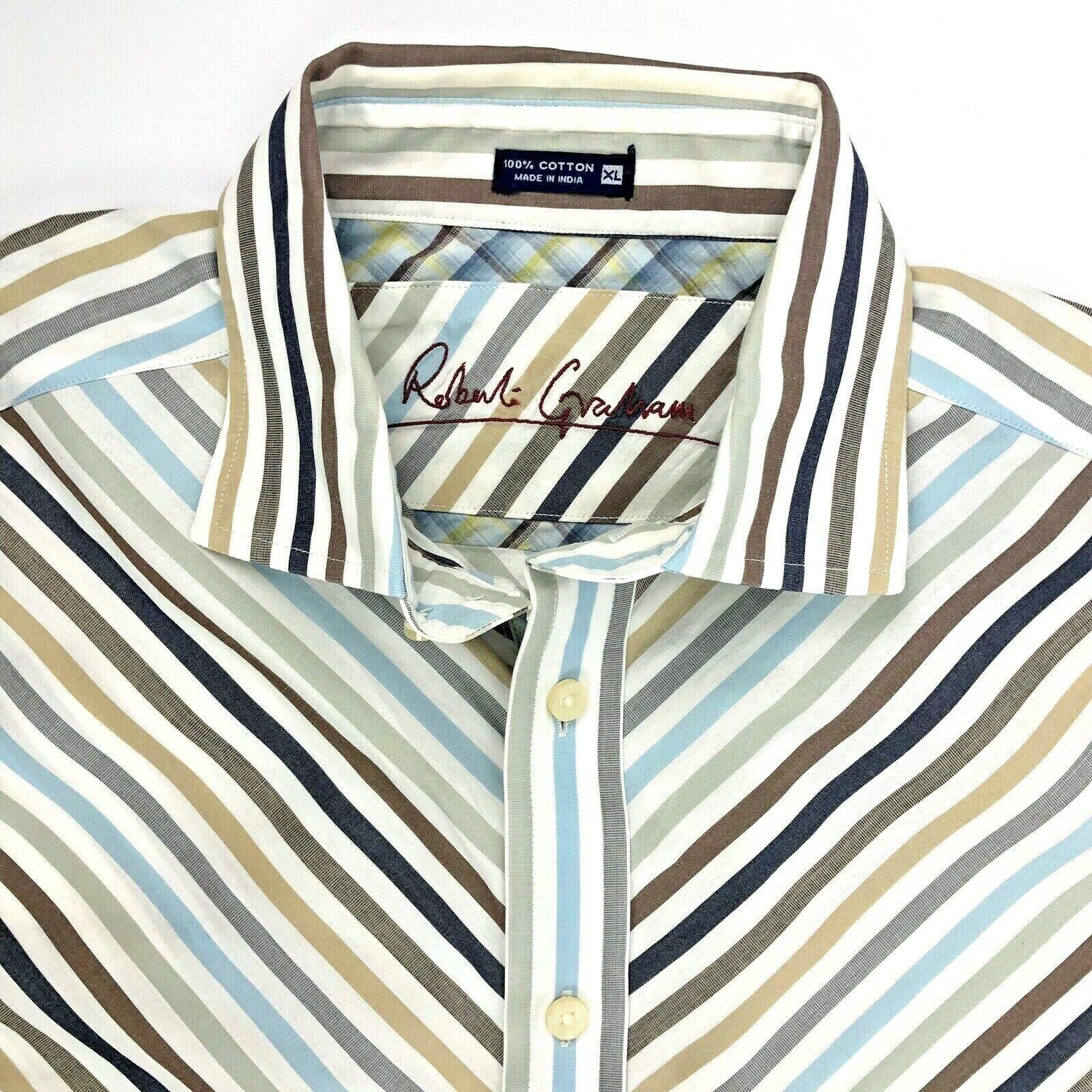 Robert Graham Pastel color Chevron Stripe Cuffs Long Sleeve Shirt Men Size XL