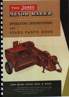"Jones /""Minor Mark II/"" Tractor Baler Operator Instruction Manual Book"