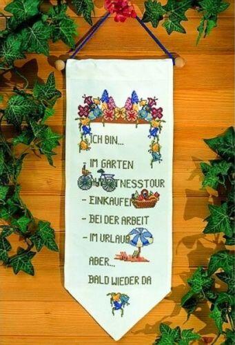 Stickpackung TÜRBEHANG Behang BIN IM.. 26x70 cm sticken Handarbeiten Kreuzstich