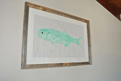 """Gyotaku Artwork Aqua Original Fish Print Artwork 24/"""" x 36/"""" Statement Art"""