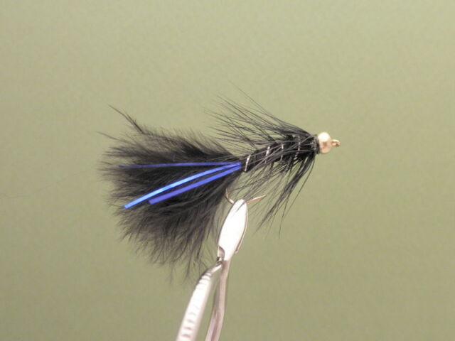 Trout Flies, 6 Per Pack, Gold Head Pink Blue Flash Damsel, Size 10 Fishing Flies