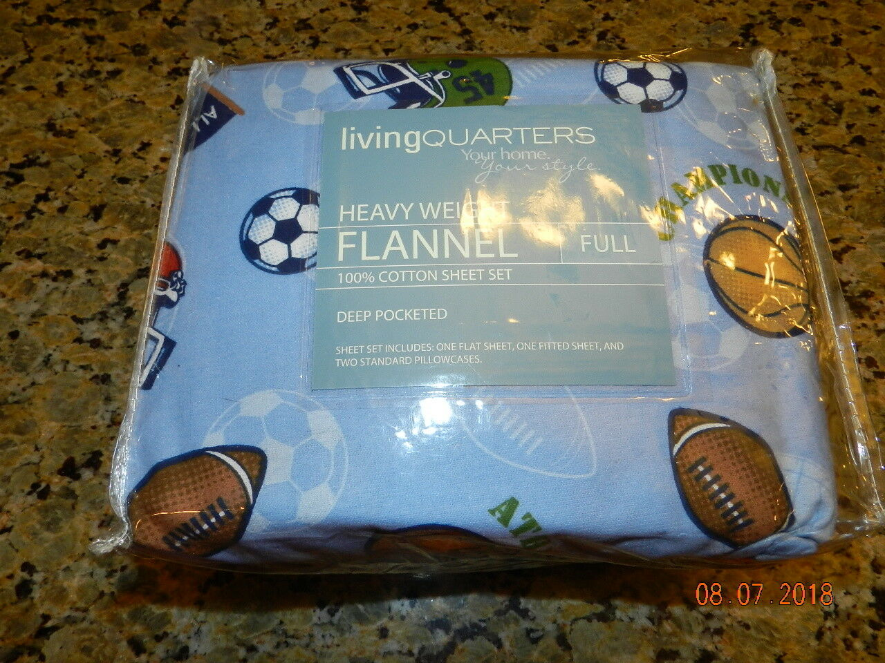 Living Quarters Full Flannel Sheet Set - Sports football basketball soccer