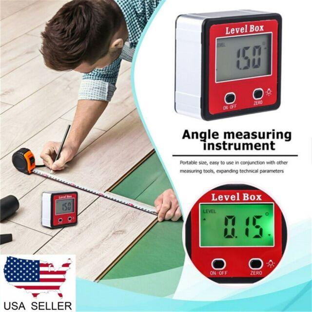 Digital LCD Protractor Gauge Angle Finder Bevel Level Box Inclinometer Meter