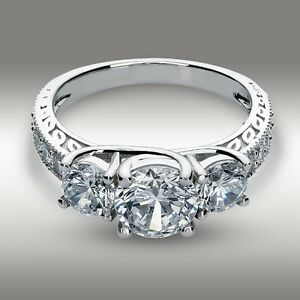 2-61-Ct-Round-cut-Three-Stone-Engagement-Ring-14K-White-Gold-Vintage-Classic