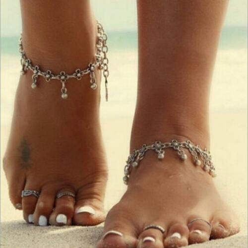 2x Women Anklet Silver Bead Chain Ankle Barefoot Sandal Beach Foot Jewelry New!!