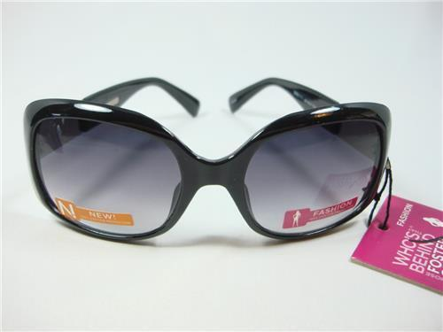 Foster Grant Black Fashion Sunglasses side silver checker design  New