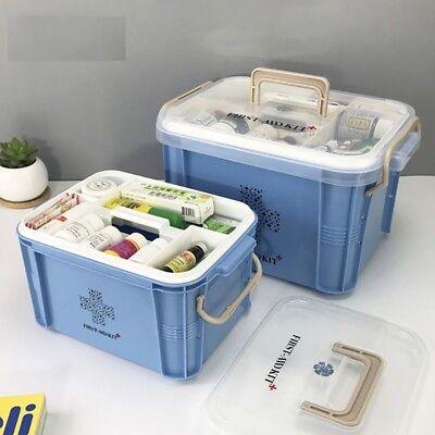 Portable Medicine First Aid Kit Box Plastic Emergency Large Capacity Storage Ebay