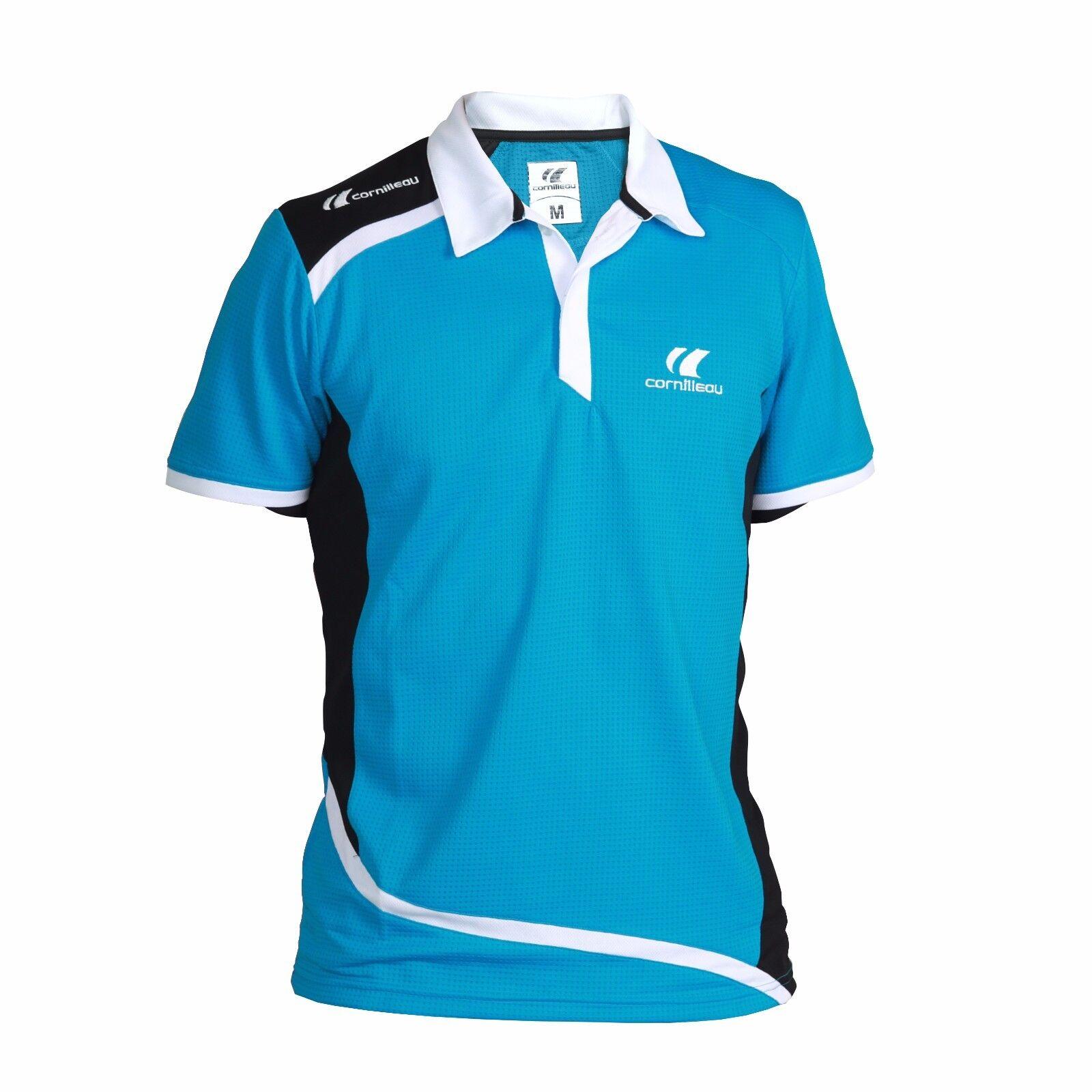 Cornilleau Table Tennis Men's Contest Polo Shirt Red bluee - Sizes XXXS to XXXL