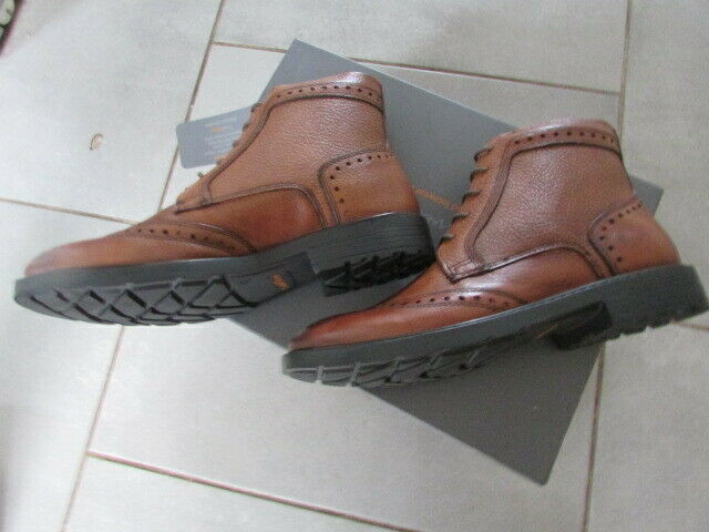 MENS LEATHER TAN BROGUE BOOTS SIZE 8
