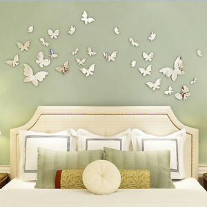 Silver-Mirror-Wall-Art-Wall-Stickers-Decal-3D-Butterflies-Home-Decors-Pretty-GL