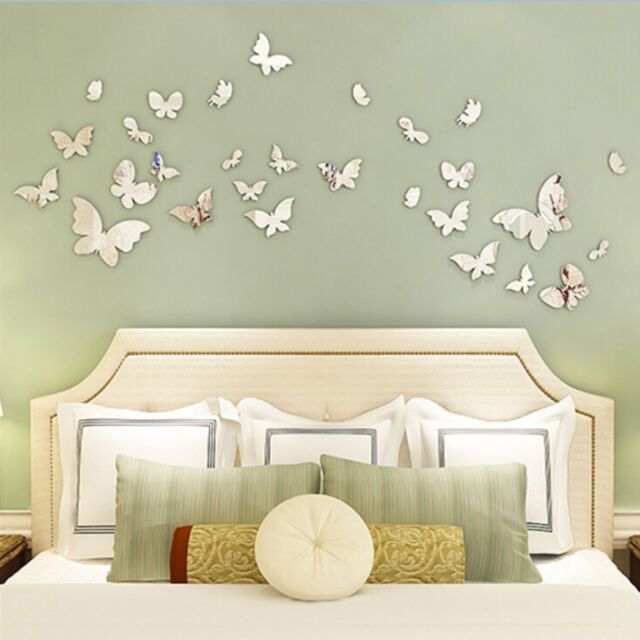 Silver Mirror Wall Art Wall Stickers Decal 3D Butterflies  Home Decors PrettyBP