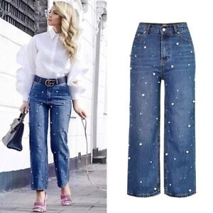 ZARA-PEARL-VINTAGE-HIGH-WAISTED-STRAIGHT-JEANS-DENIM-PANTS-EUR-38-UK-10-S-M