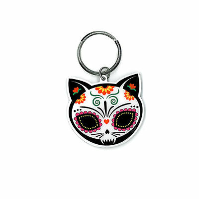 Sugar Skull Cat with flower Day of the Dead Dios De Los Muertos Keychain ring