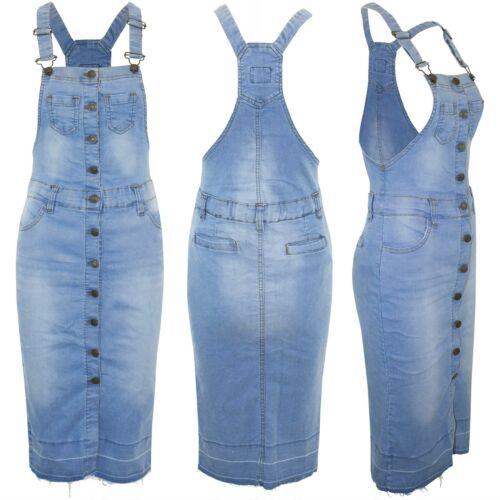 Da Donna Grembiulino Denim nel complesso scolorito Tasche Cinturino Jeans Salopette Abiti