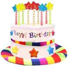 Happy Birthday Party Cake Hat Candles Plush Rainbow Novelty Gift Fancy Dress Fun