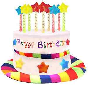 Image Is Loading Happy Birthday Party Cake Hat Candles Plush Rainbow