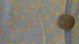 Cotton-Fabric-SMALL-YELLOW-ORANGE-GREEN-SQS-ON-BLUE-Diane-Zimmerman-23-034-44-034