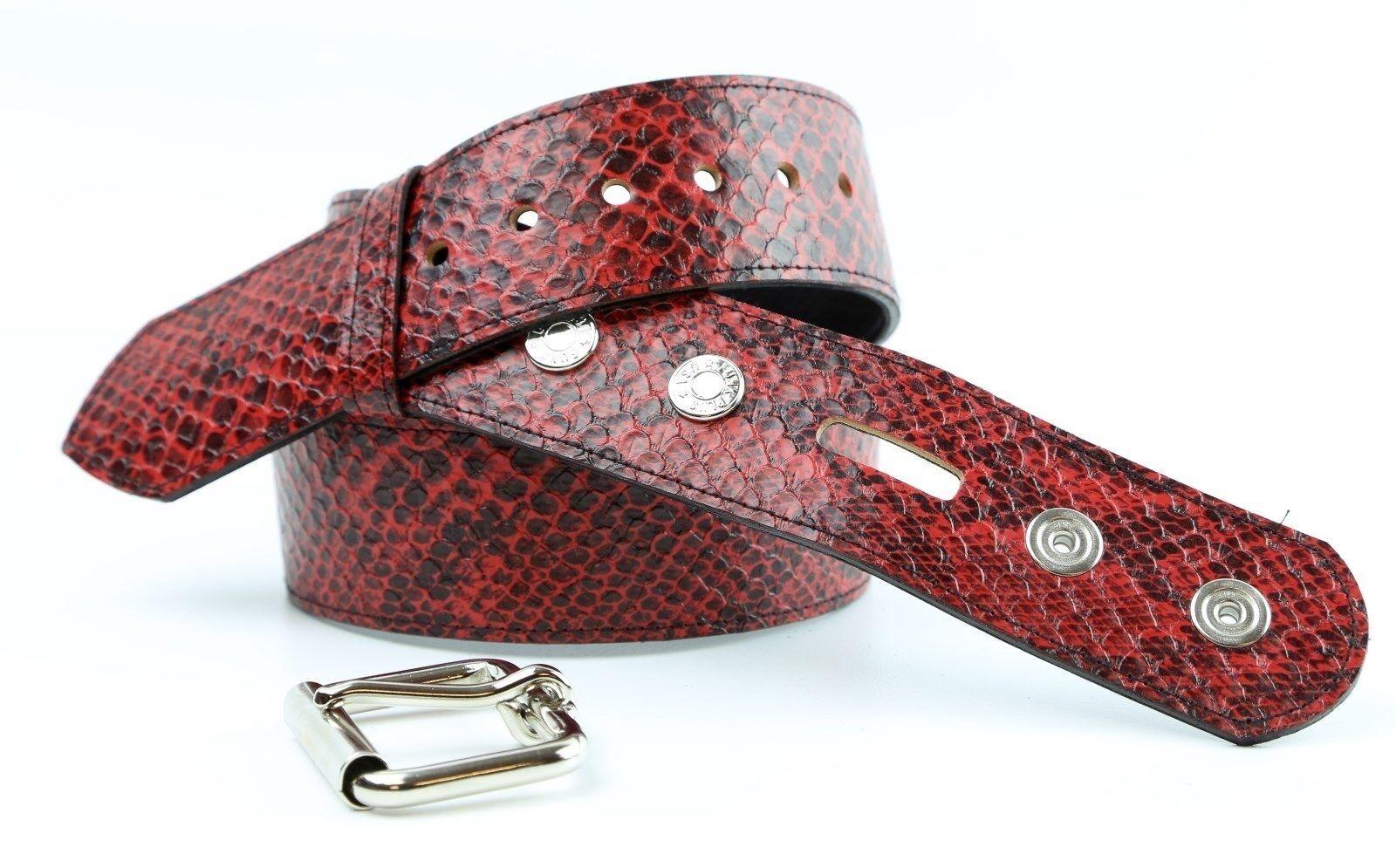 "Red Python Snake Embossed Vegan Leather Belt Removable Buckle 1.75/"" Wide 44mm"