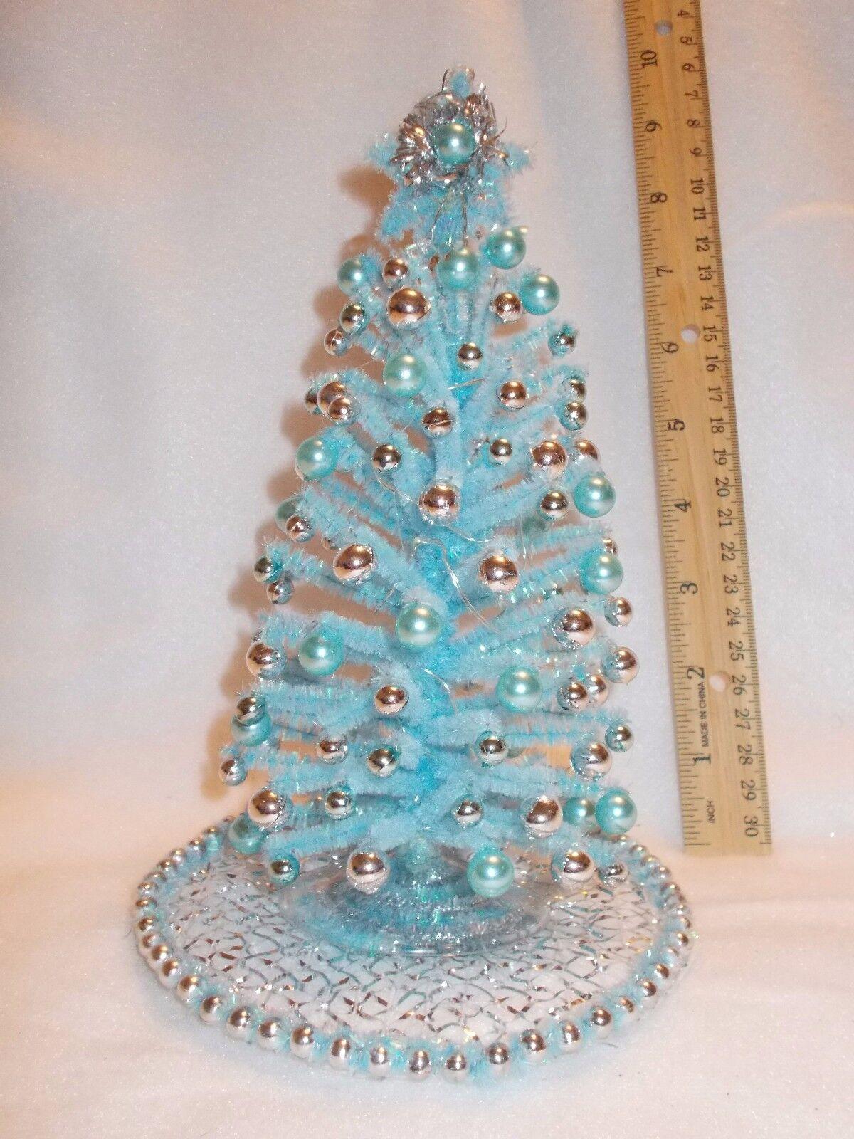 ventas en linea 8-1 8-1 8-1 2  iluminado Pastel Azul casa de muñecas en miniatura de árbol de Navidad moderno diseño OOAK  opciones a bajo precio