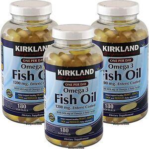 3 x kirkland omega 3 enteric coated 1200mg fish oil 180 for Kirkland fish oil reviews