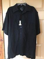 Mens Marc Edwards Black Washable Linen Button Down Shirt Size M -
