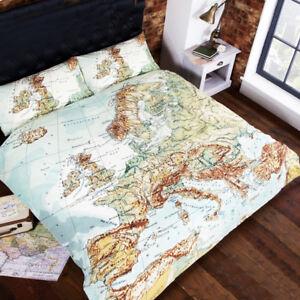 World Map Double Duvet Set Travel Theme Bedroom Atlas Map Duvet | eBay