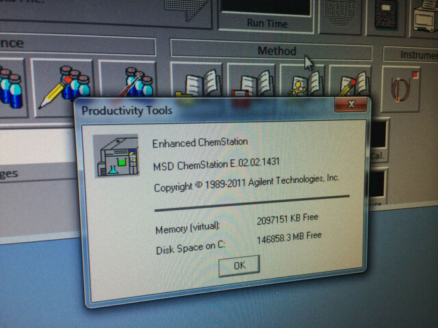 Agilent chemstation MSD G1701EA E 02 02 loaded on Dell Windows 7 pro  Computer