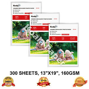 Details about 300 Sheets Koala 13x19 Double Sided Glossy Inkjet Printer  Photo Paper HP Canon