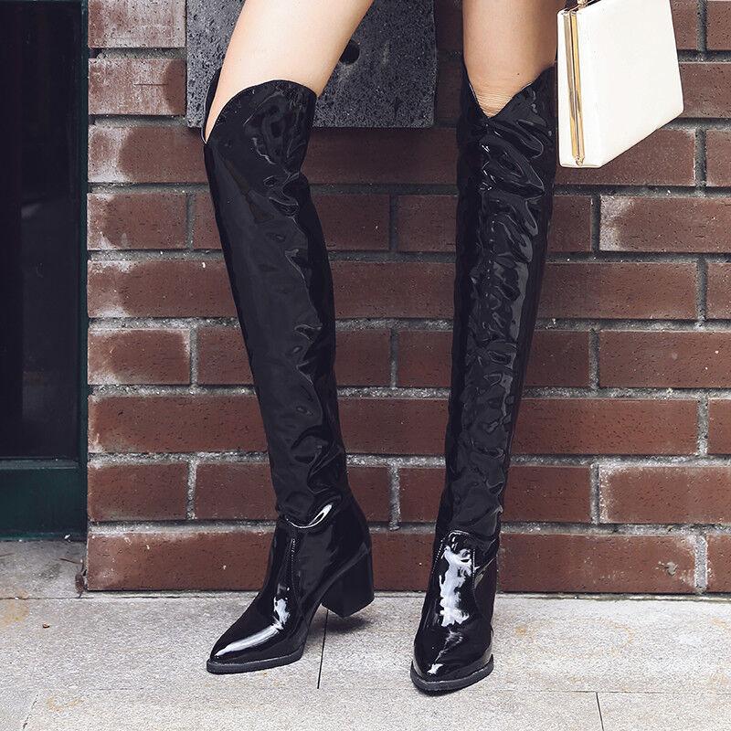 Fashion Damen Schuhe Kniehohe Stiefel Lackleder Winterschuhe Gr:32-45/46/47/48