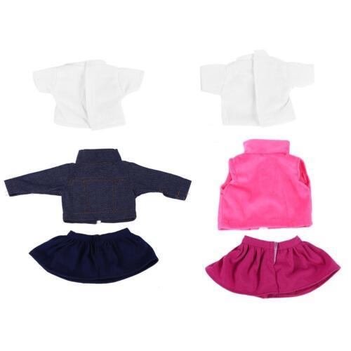 3pcs//set Girl Doll Clothes Dress Suit Set Top Skirt Coat for 18inch Girls Dolls#