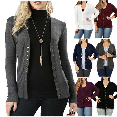 Women Snap Button Sweater Cardigan with Ribbed Detail Neck Long Sleeve HW-2039