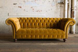 Modern Handmade 3 Seater Plush Mustard Gold Velvet Chesterfield