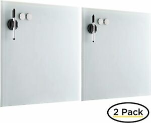 BirdRock Home 2 Pack Magnetic Glass Writing Board- White #1 (0993)