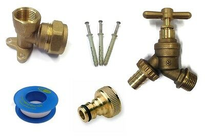 Self Cutting Tee * Brass Outdoor Garden Tap Kit Connector Fittings Pipe PTFE
