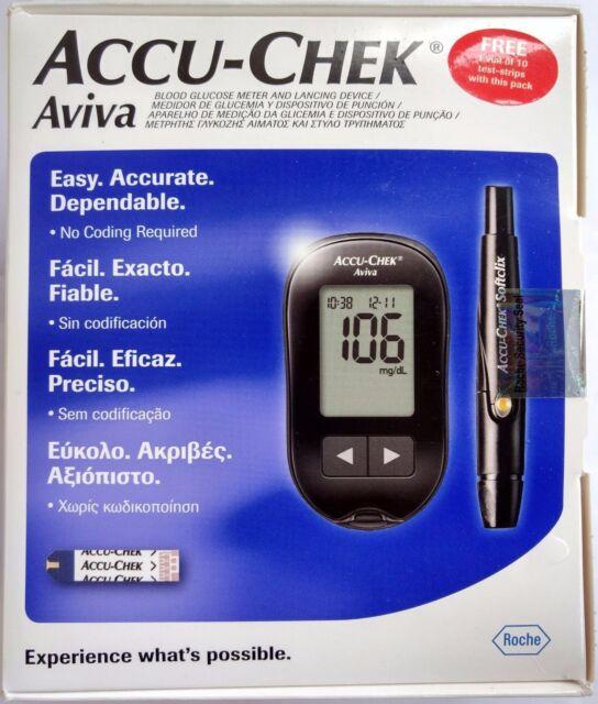 Accu Chek Aviva Blood Glucose Meter With 10 Lancets Ebay